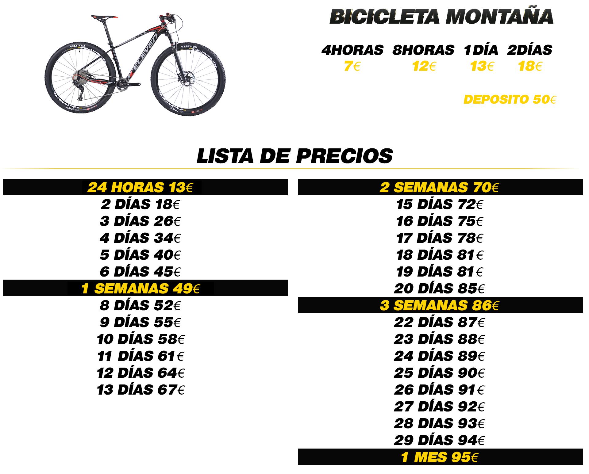 Alquiler bicicleta montaña